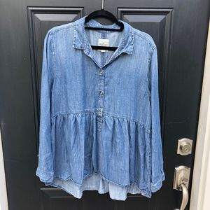 American Eagle denim peplum shirt